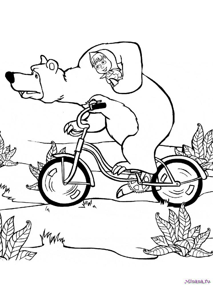 Раскраска Маша и медведь на велосипеде