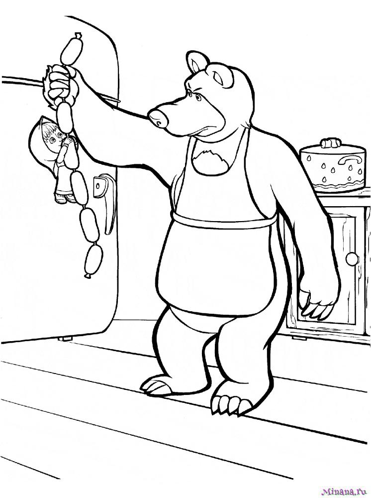 Раскраска Маша и медведь с сосисками