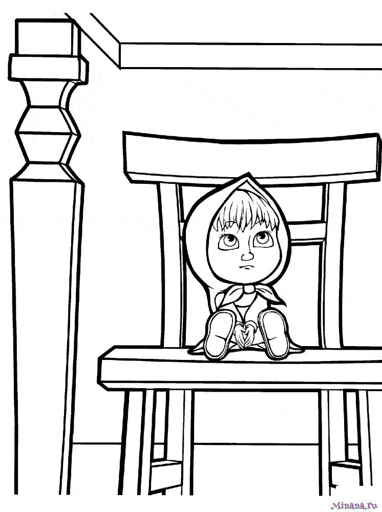 Раскраска Маша сидит на стульчике