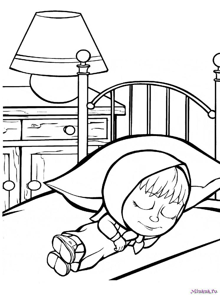 Раскраска Маша спит