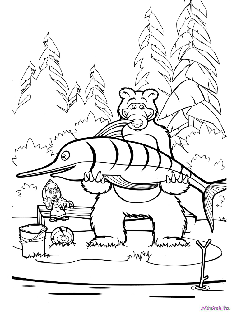 Раскраска Медведь поймал большую рыбу