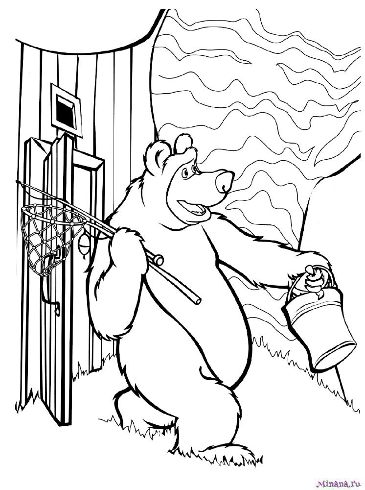 Раскраска Медведь собрался на рыбалку