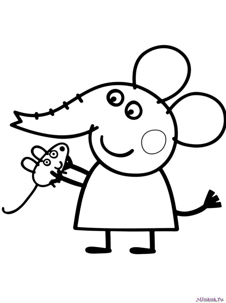 Раскраска Слонёнок Эмили