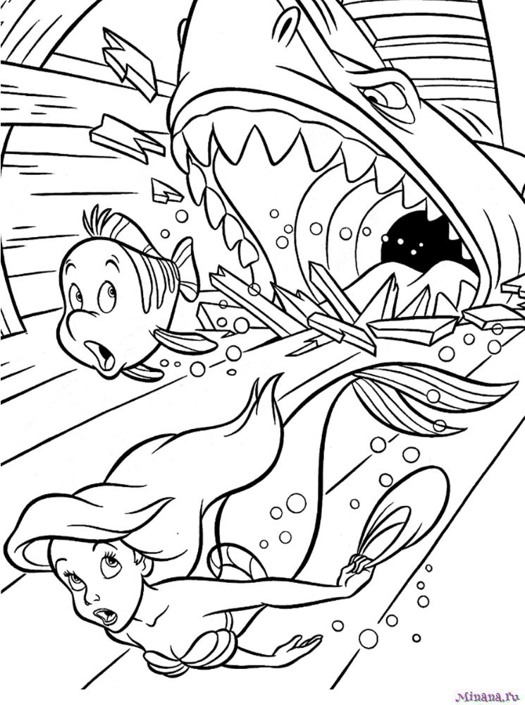 Раскраска Ариэль и акула