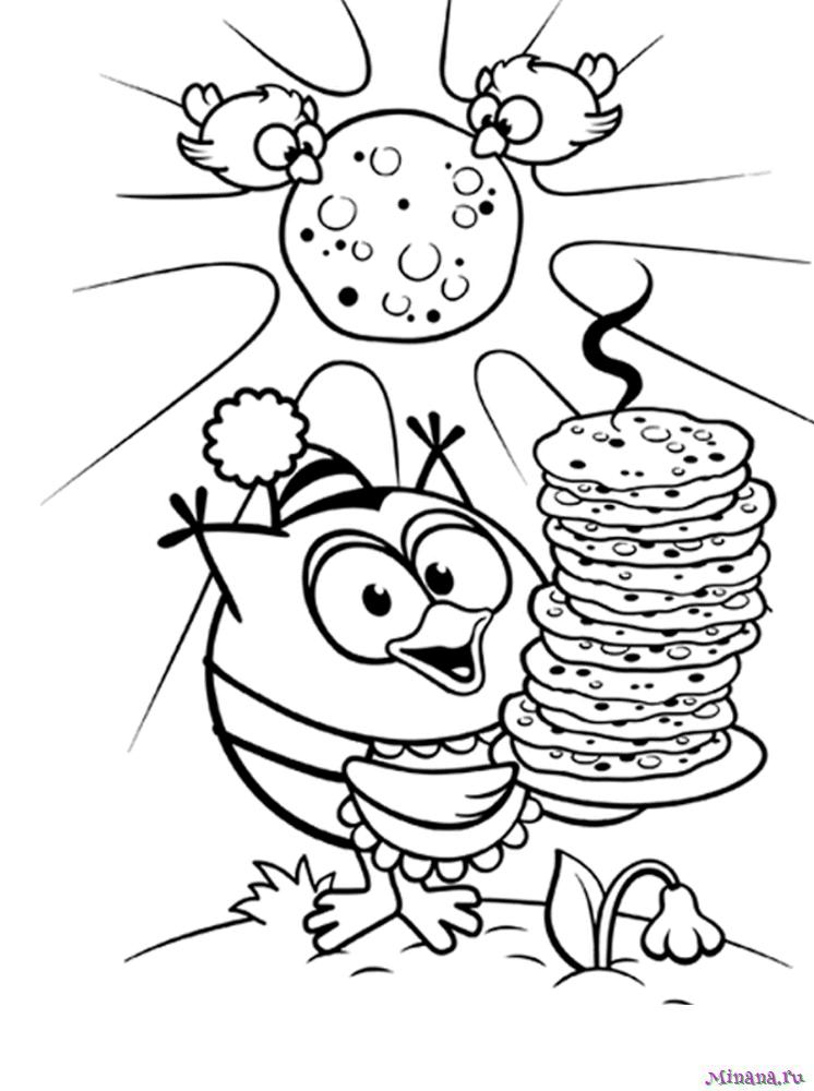 Раскраска Совунья с блинами