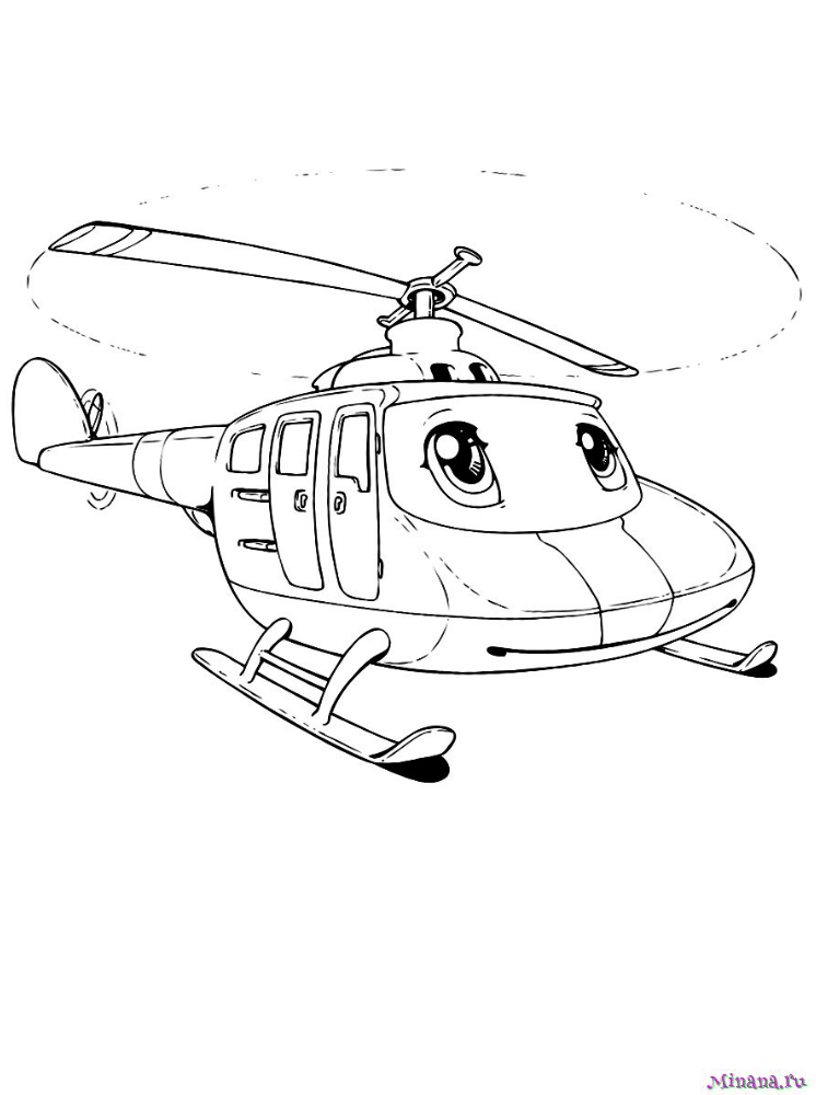 Раскраска вертолет 1