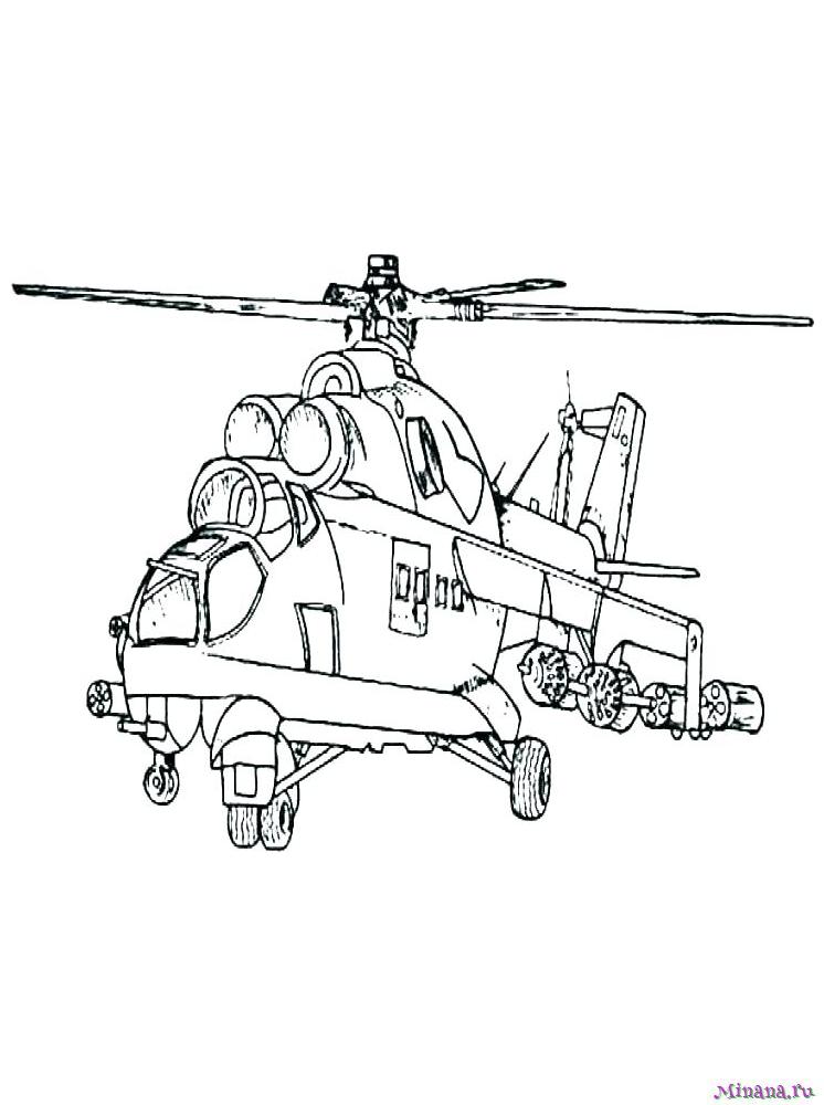 Раскраска вертолет 6