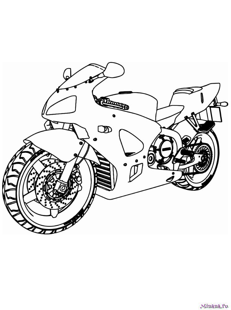 Раскраска мотоцикл 7