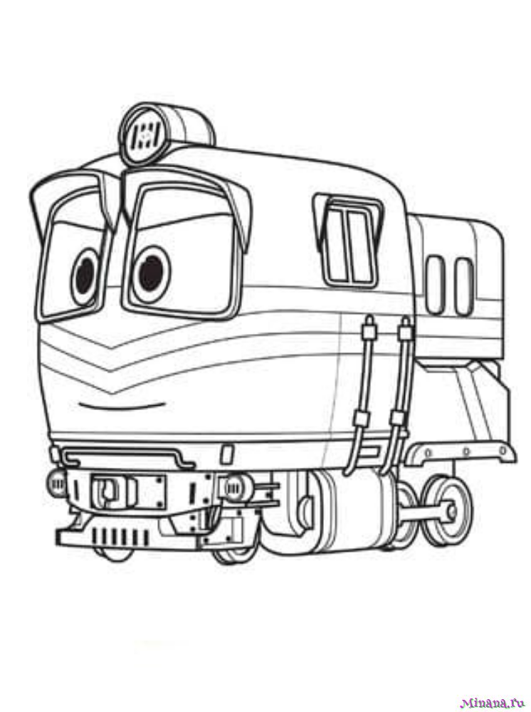раскраска робот поезд красного цвета Minana Ru