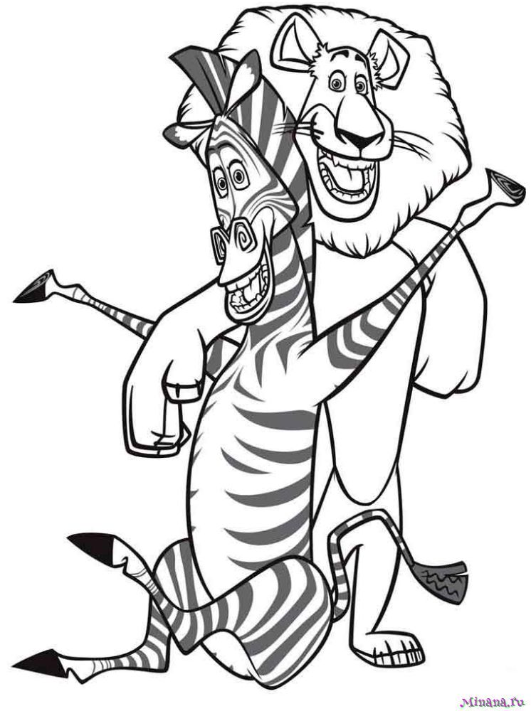 Раскраска Лев и Зебра