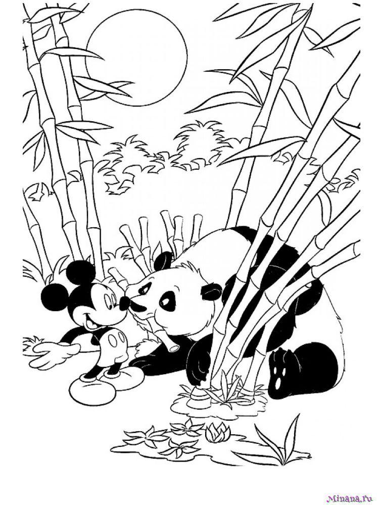 Раскраска Микки Маус и панда