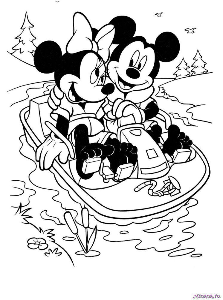 Раскраска Микки и Минни