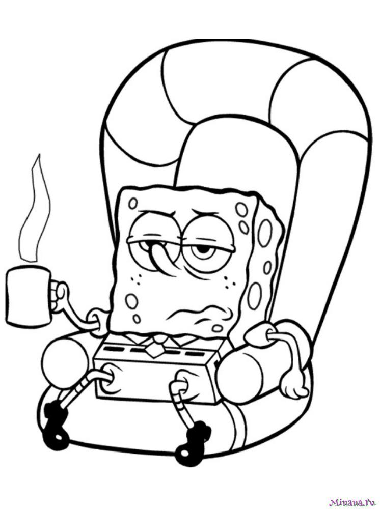 Раскраска Губка Боб пьет кофе