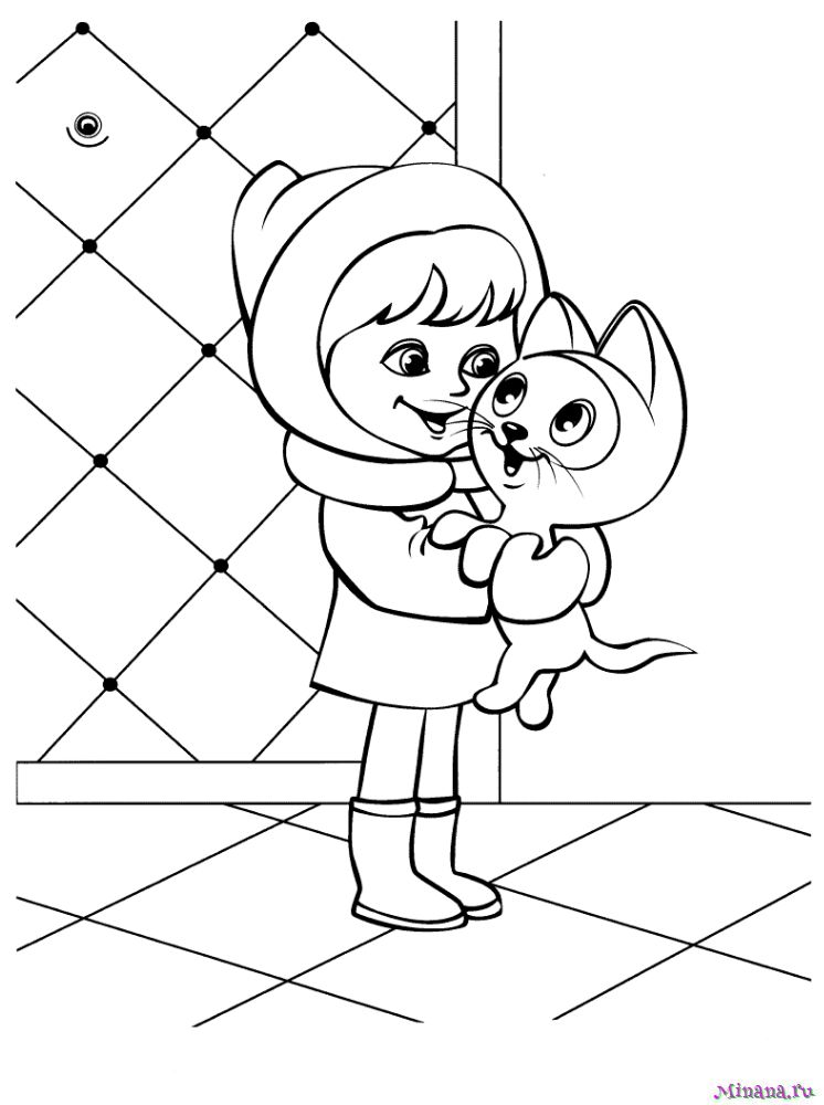 Раскраска Девочка с котенком | Minana.ru