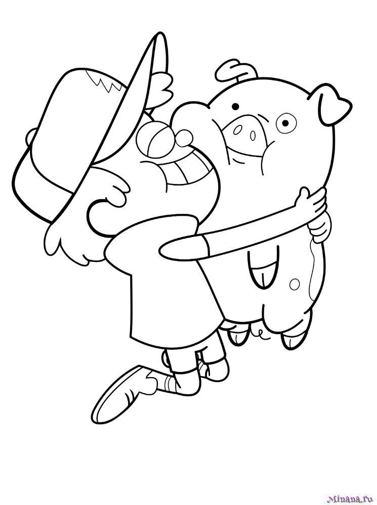 Раскраска Диппер Пайнс и пухля