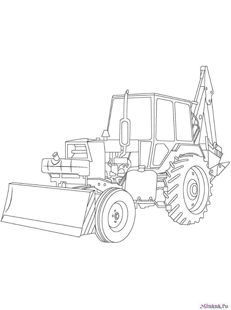 Раскраска Трактор 9  minanaru