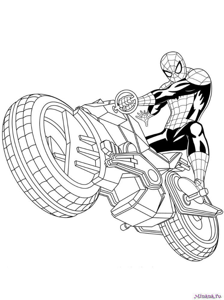 Раскраска человек паук на мотоцикле