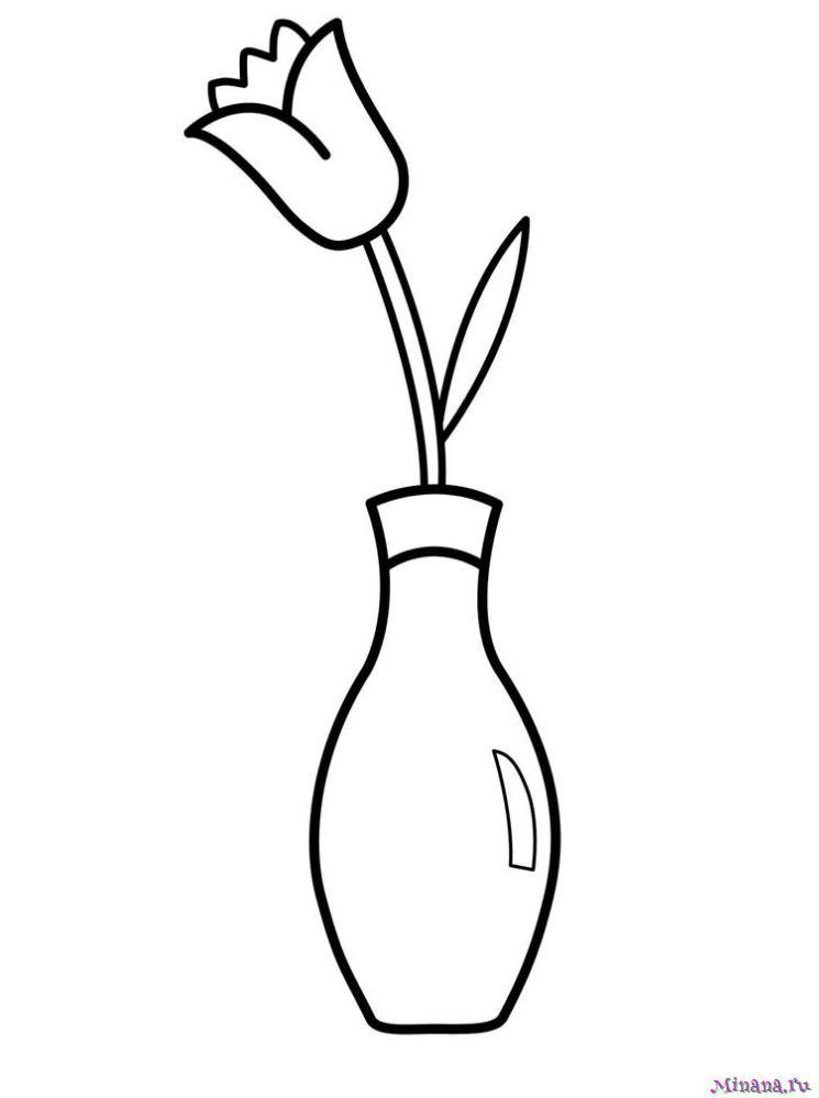 Раскраска Цветок в вазе | Minana.ru