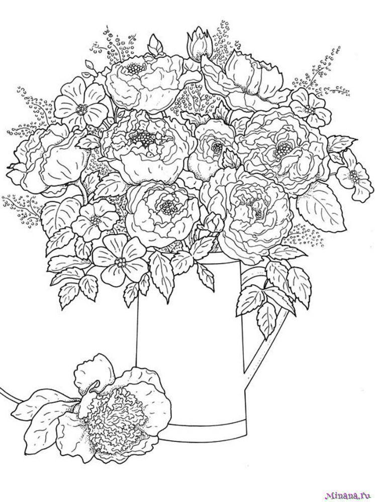 Раскраска цветы в вазе 7 | Minana.ru
