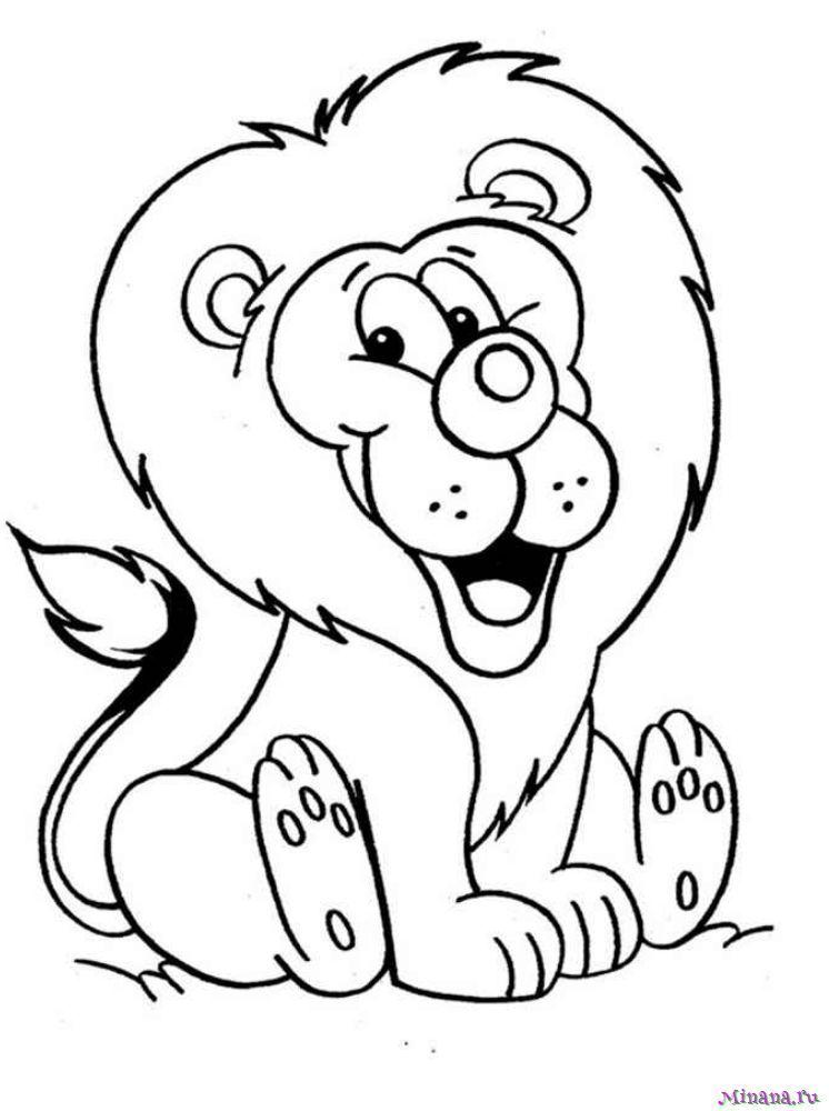 Раскраска лев 6