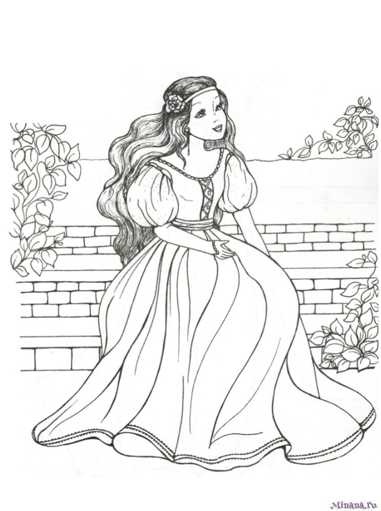 Раскраска принцесса 10 | Minana.ru