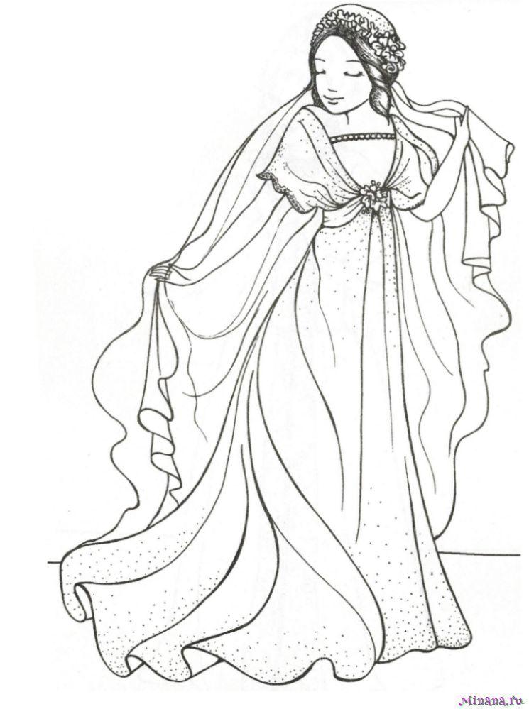 Раскраска принцесса 15 | Minana.ru