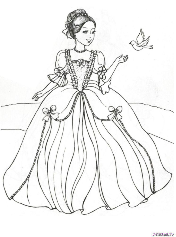 Раскраска принцесса 17 | Minana.ru