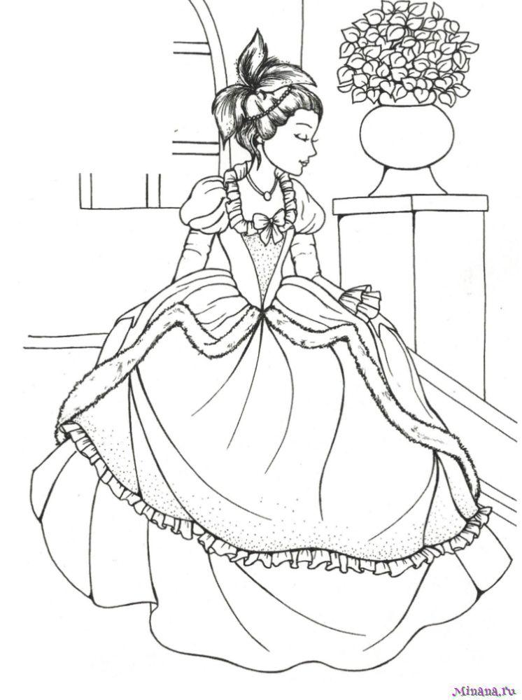 Раскраска принцесса 19 | Minana.ru