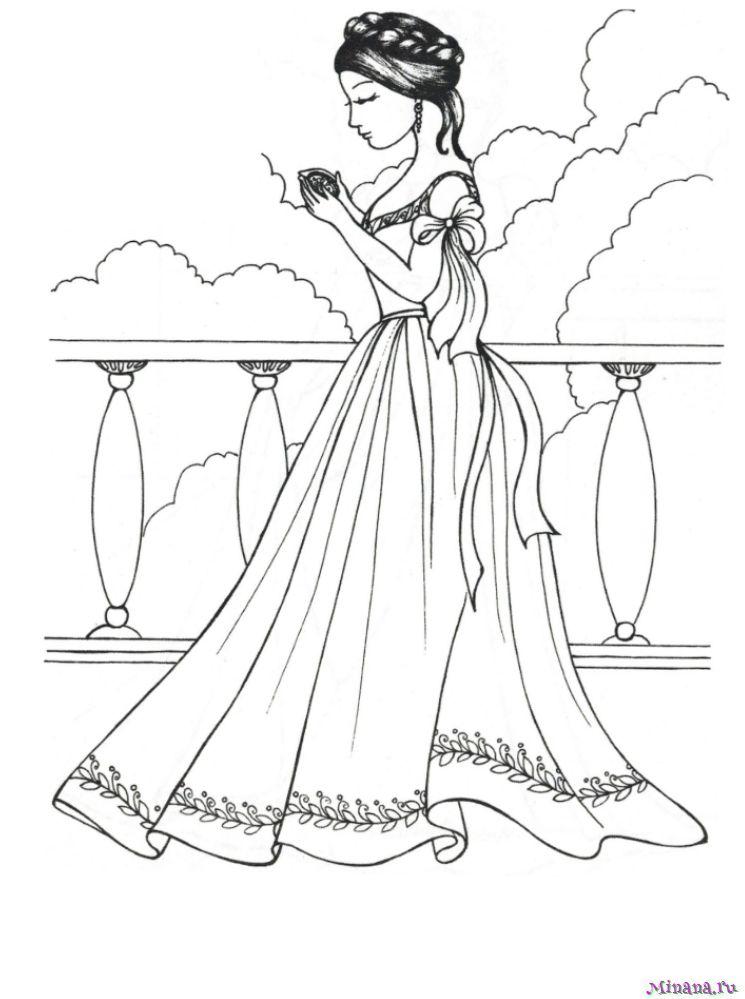 Раскраска принцесса 3 | Minana.ru