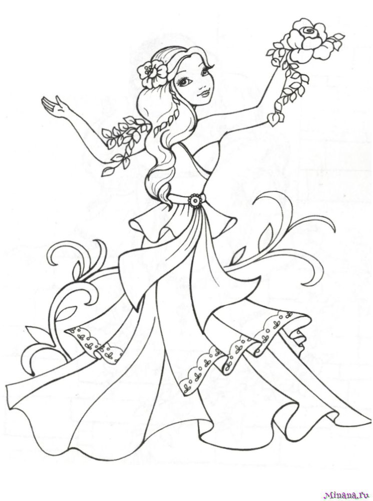 Раскраска принцесса 5 | Minana.ru