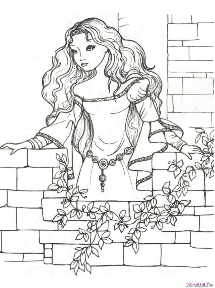 Раскраска принцесса 6 | Minana.ru