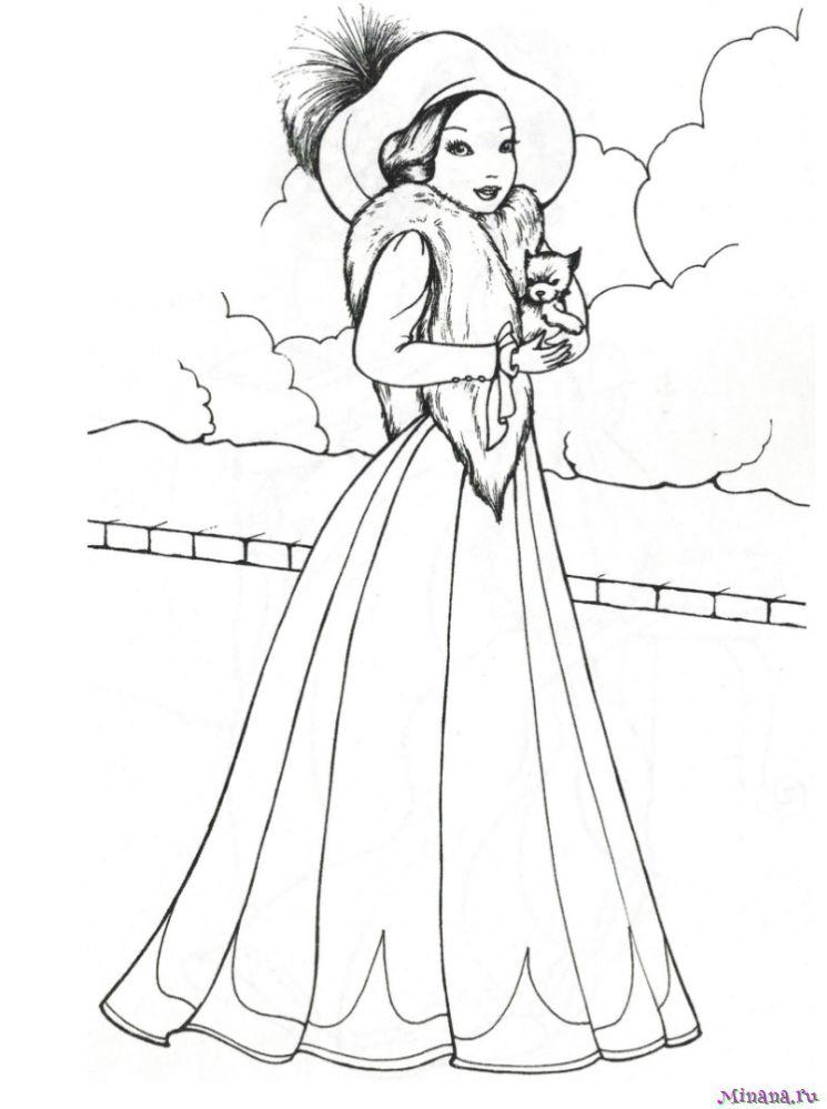 Раскраска принцесса 7 | Minana.ru