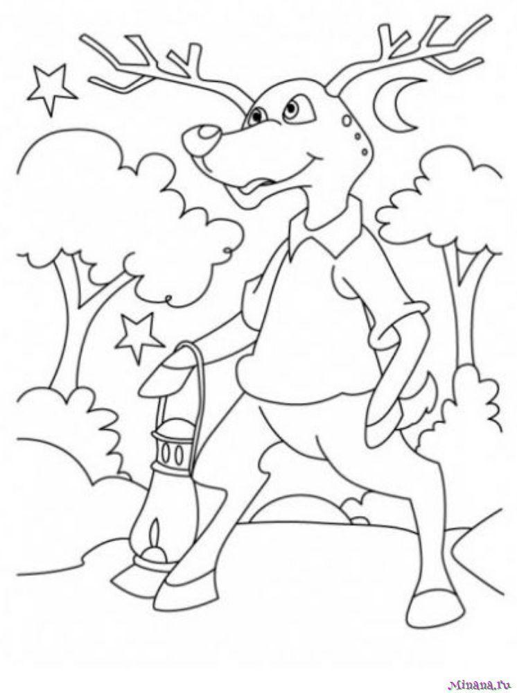 Раскраска олень 15