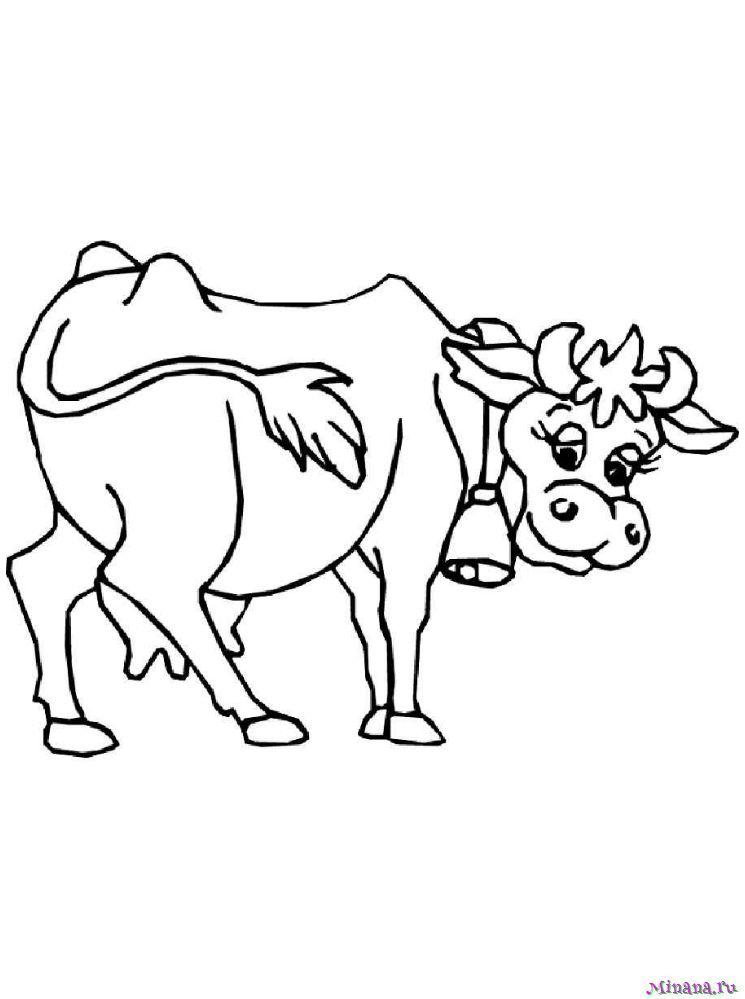 Раскраска корова 4 | Minana.ru