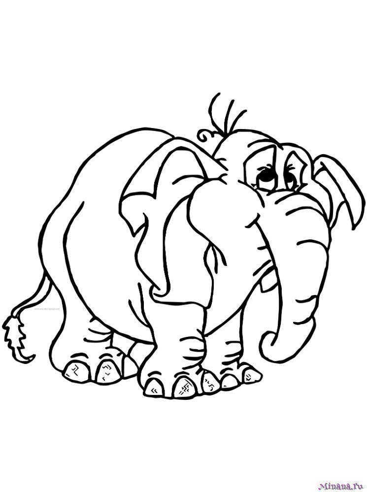 Раскраска большой слон