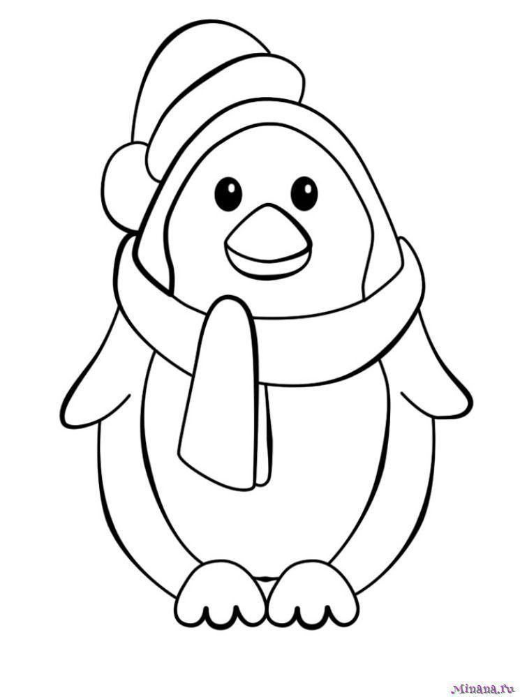 Раскраска пингвин 3