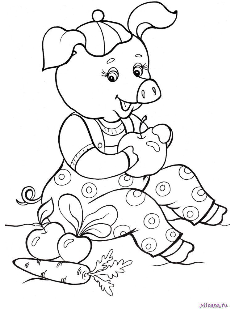 Раскраска свинья 7