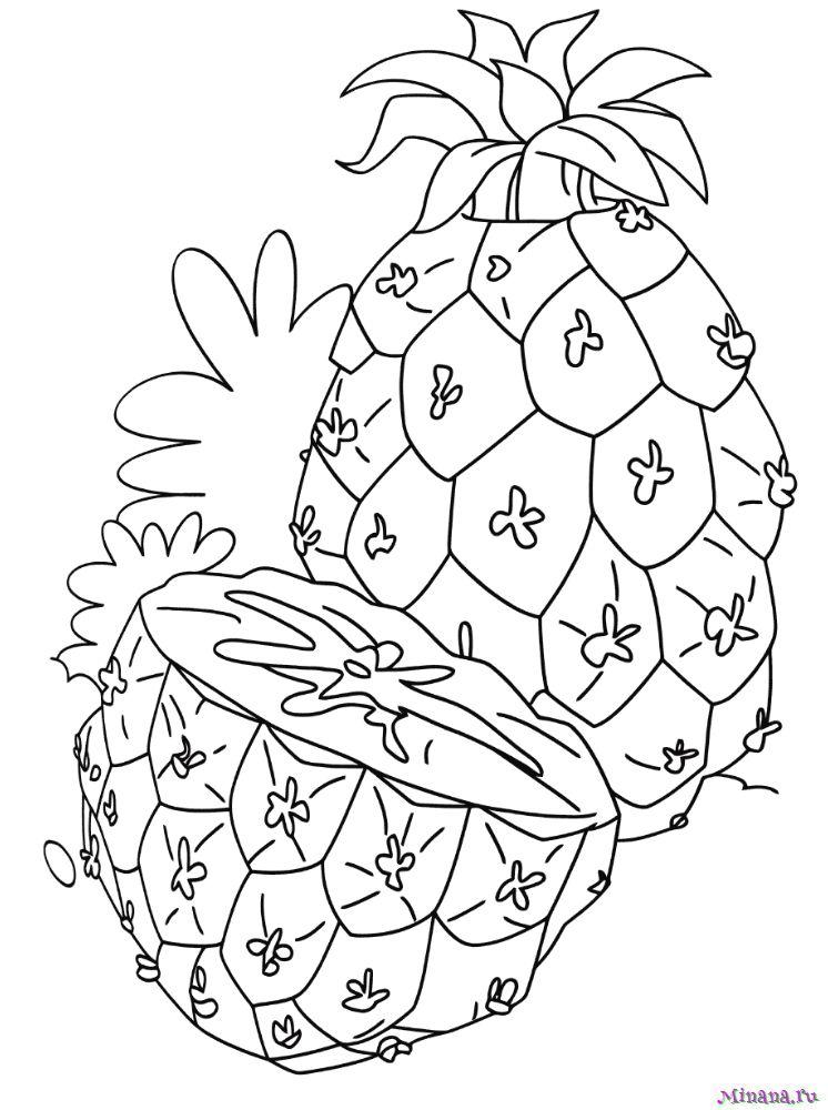 Раскраска ананас 3