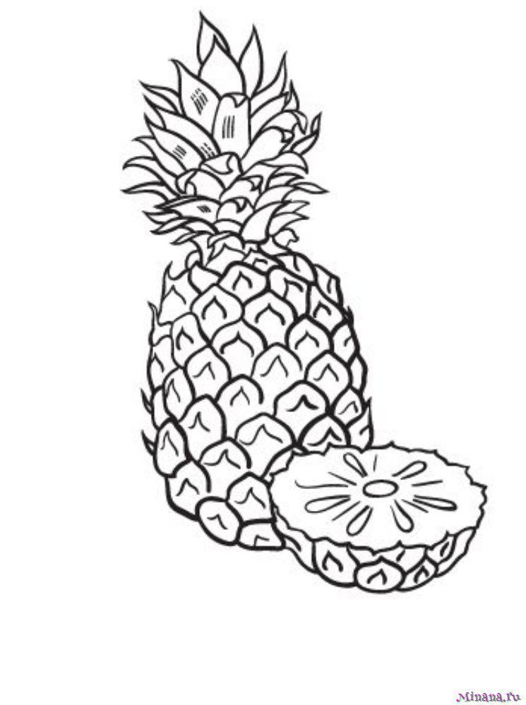 Раскраска ананас 4
