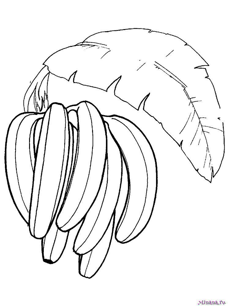 Раскраска бананы 3