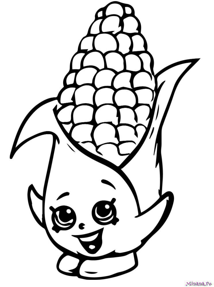 Раскраска кукуруза 6