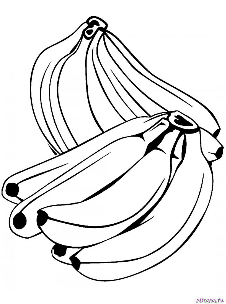 Раскраска много бананов