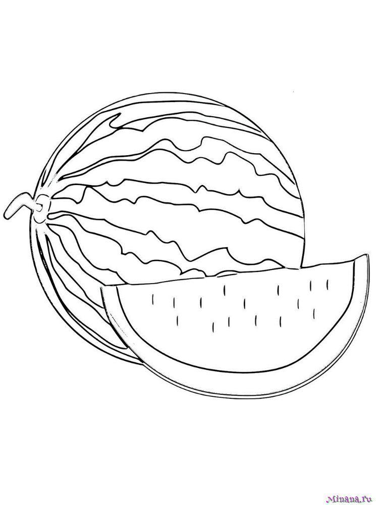 Раскраска арбуз 3