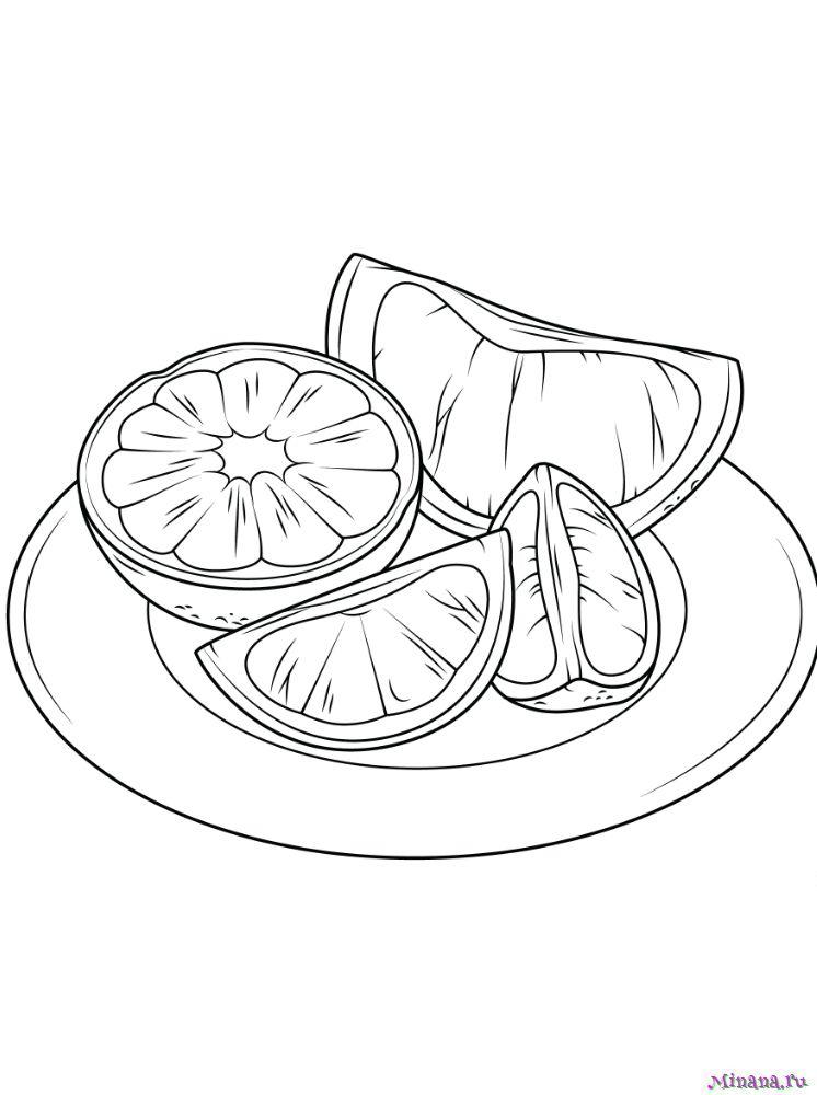 Раскраска апельсины на тарелке