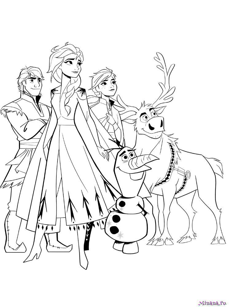 Раскраска Анна и Олаф