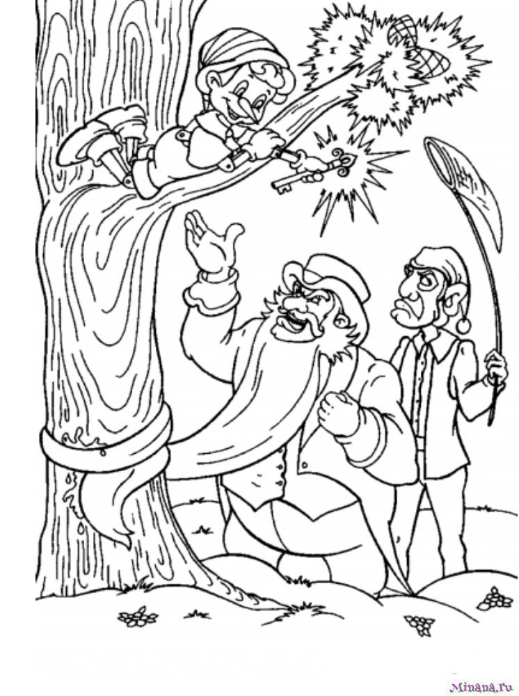 Раскраска Буратино и Карабас 3