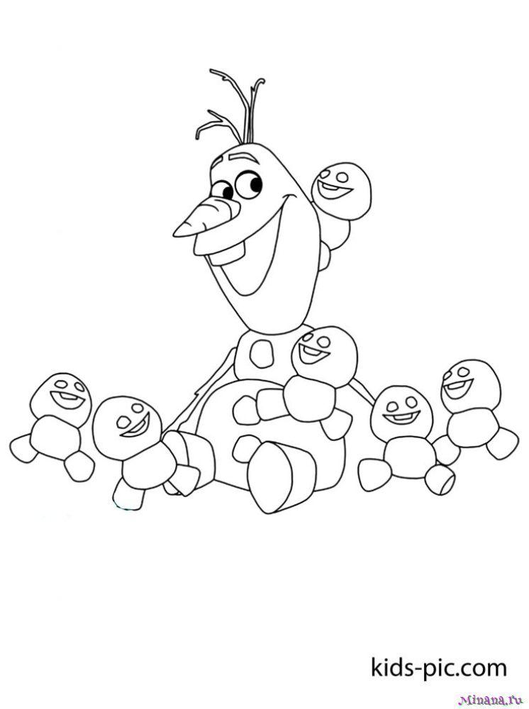 Раскраска Олаф и маленькие снеговики