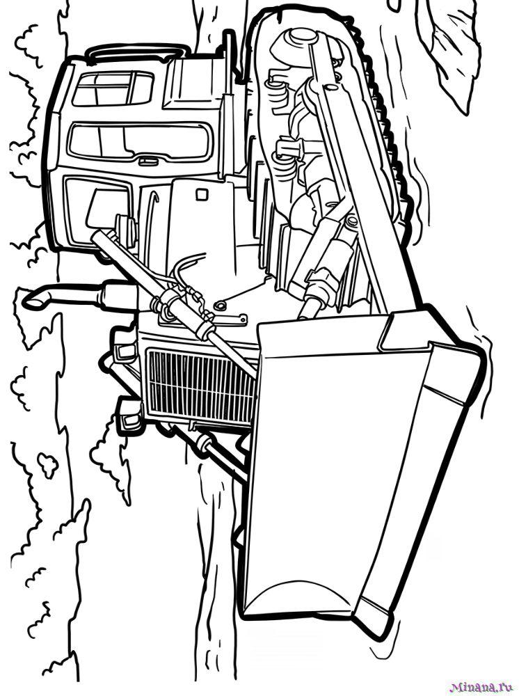 Раскраска бульдозер 7