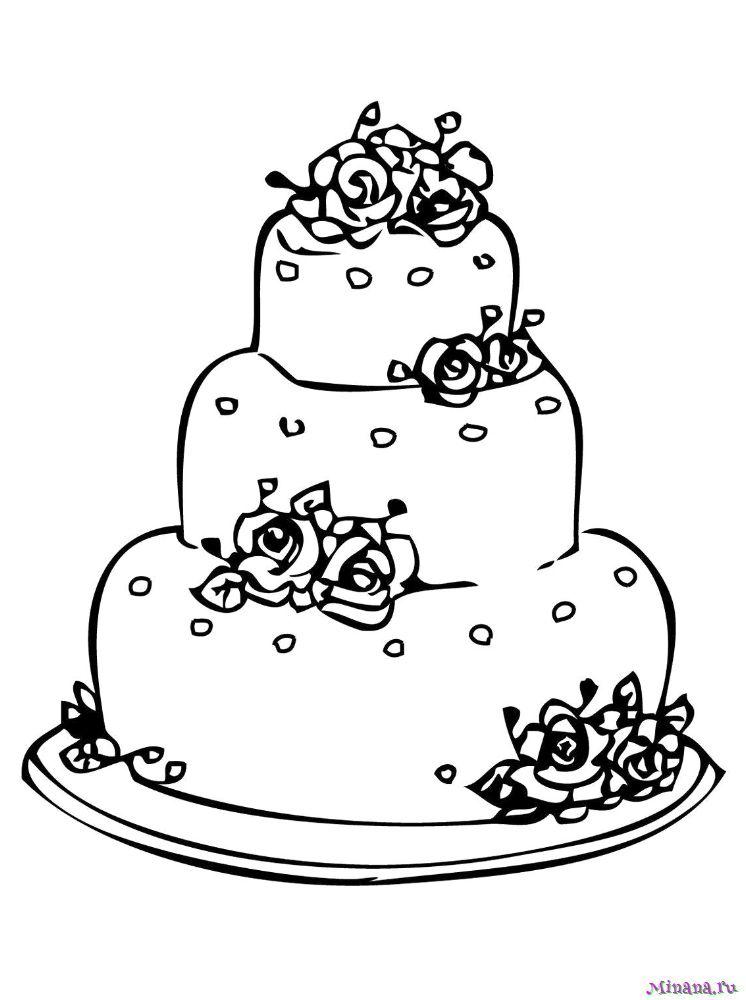 Раскраска торт 6