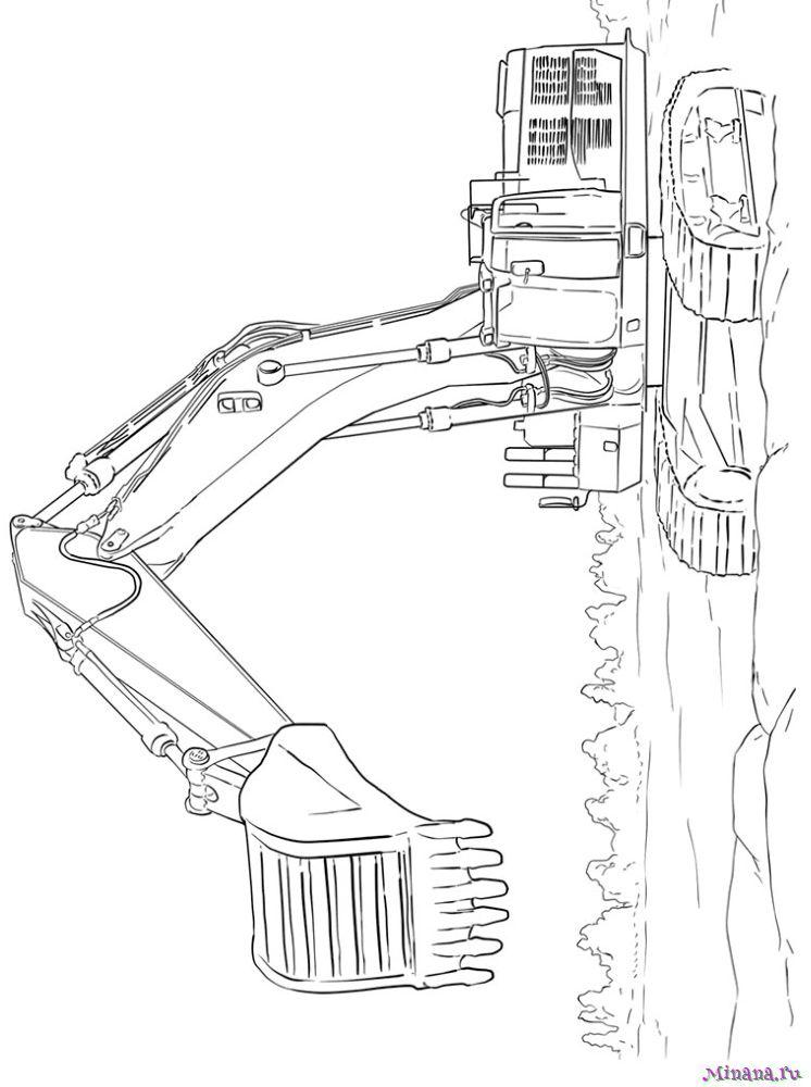 Раскраска экскаватор 3